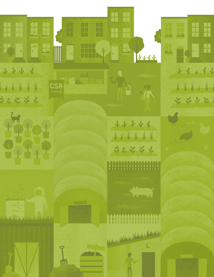 urban farm background tiles